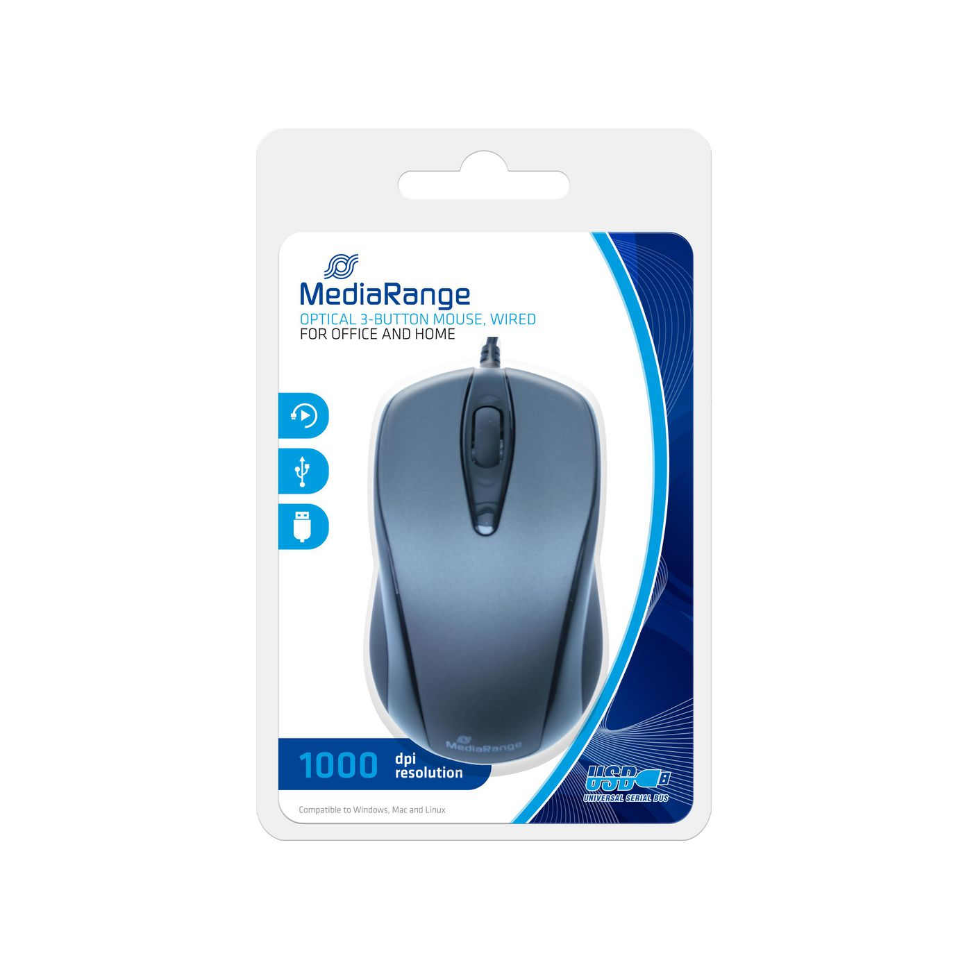 MediaRange MROS201 Maus optisch 3 Tasten inkl.