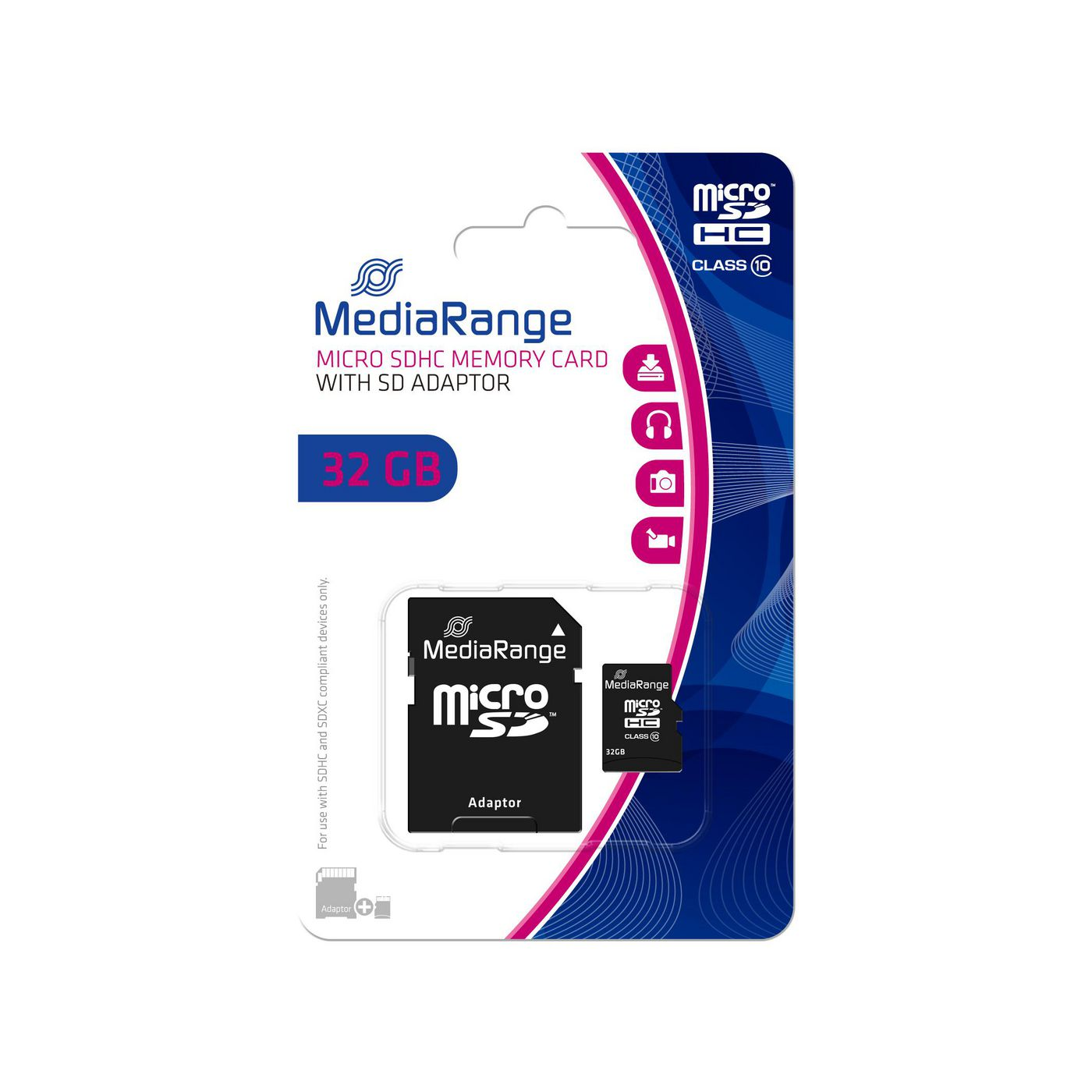 MediaRange MR959 SD MicroSD Card 32GB SD CL.10